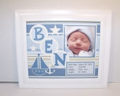 Baby Boy Nautical Nursery Picture Frame - Blue & White Sail Boat Theme - Personalized 8x10 Deluxe Frame Included