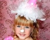 Pink and white Polka dot birthday hat headband  minnie
