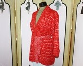 Vintage 1970's Red and White Wrap Cardigan with Waist Tie. Gorgeous.