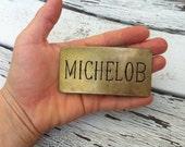 Vintage Michelob Belt Buckle, 70s, Brass