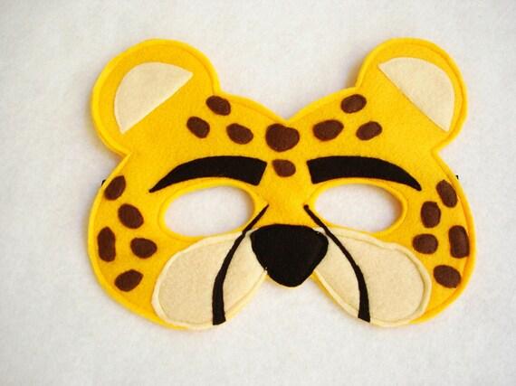 children s cheetah felt animal mask by magicalattic on etsy