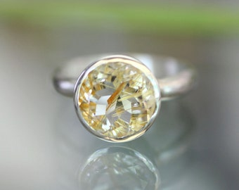 Golden Rutilated Quartz Sterling Silver Ring, Gemstone Ring,  In No Nickel / Nickel Free - Made To Order