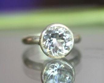 White Topaz Sterling Silver Ring, Gemstone Ring, In No Nickel / Nickel Free - Made To Order