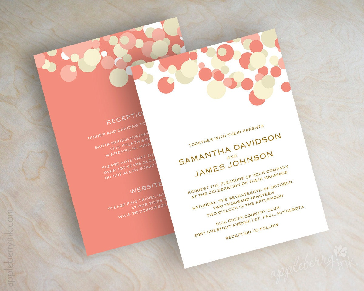Wedding Invitations Coral Color: Coral And Ivory Polka Dot Wedding Invitations Coral And Ivory