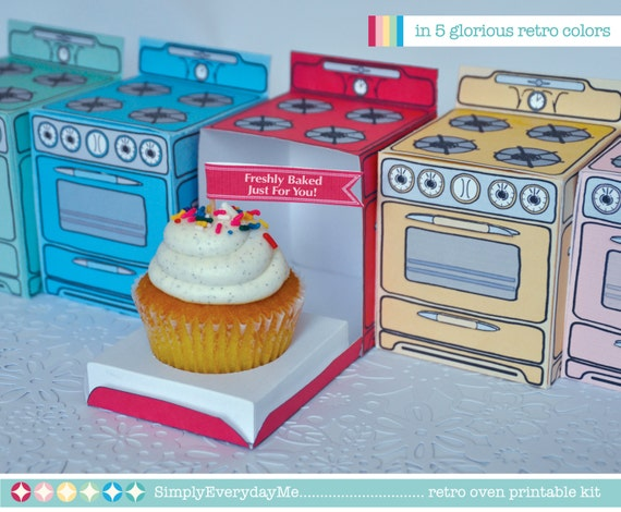 Retro Oven - party favor box, cupcake box, gift card holder -  A Printable PDF kit - INSTANT download