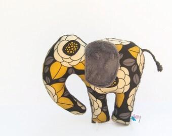 Plush Elephant Floral Gray Gold Yellow Minky Stuffed Animal