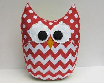Large Red Chevron Owl Pillow Minky Red Nursery Decor