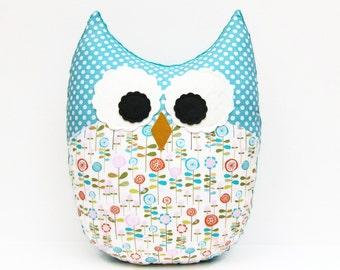 Owl Pillow Nursery Decor Teal Aqua Floral Pink Orange Green