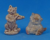 Wade Whimsies Kitten Cat with Fiddle 2 Figurines