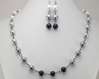 Necklace and Earring Set - Shades of Grey Glass Pearls with Gunmetal - Gray - Ombre