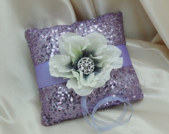Lavender Purple Sequin Anemone Ring Bearer Pillow