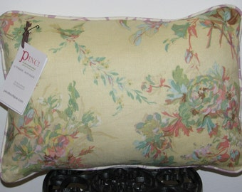 Sunny Garden 12x16inch Throw PILLOW in Pale Yellow/Coral/Aqua/White/Lilac