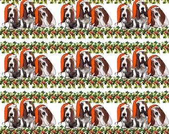 Adorable Basset Hound Holiday cottonfabric