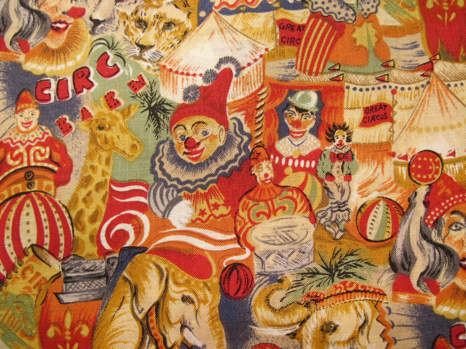 Circus Fabric 1 Yard Circus Clown Fabric Carnival Fabric