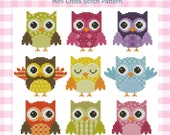 Hooties Patchwork Owls Collection Cross Stitch PDF Chart