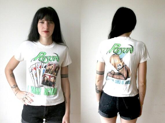 80s Band Shirt / Poison Glam Metal Shirt Sz XS / S
