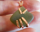 Pendant of Sea glass and Copper, Beaten Copper Pendant, Tropical Beach Glass, Gift for Her, Gift under 20