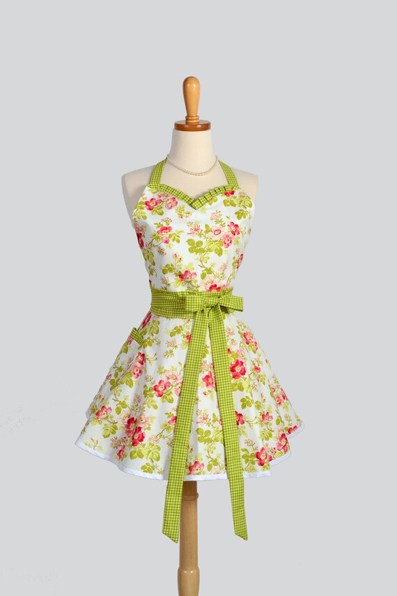 Sweetheart Retro Apron , Retro Sexy Womens Apron in Spring Apple Blossom Green and Pink on White