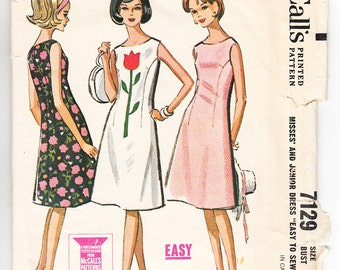 Vintage 1963 McCall's 7129 Sewing Pattern Misses' Dress Size 13-14 Bust 33-34
