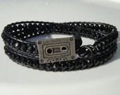 Black on Black Beaded Leather Wrap Bracelet with Cassette Tape Button Retro