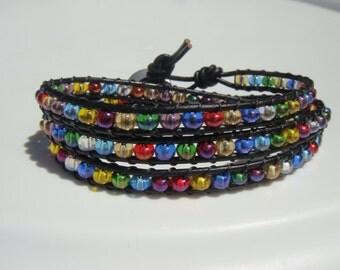 Rainbow Beaded Leather Wrap Bracelet