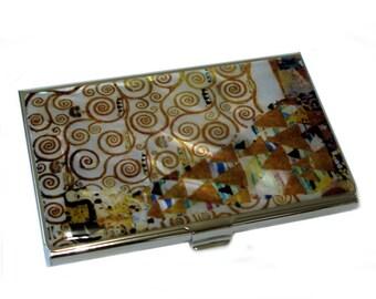 Mother of Pearl Expectation by Gustav Klimt Art Painting Business Credit Name Card Holder Case Metal Slim Purse Pocket Cash Money Wallet
