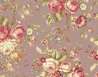 Mary Rose Amelia  Cotton Fabric Quilt Gate MR2170-11D Purple  Roses