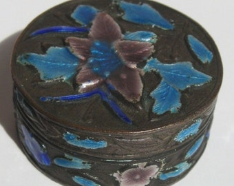 Chinese Export Enamel Pill Box - Vintage