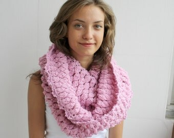 Infinity Loop Circle Scarf  Cowl Pink For Her for women  and Gift under 60 Christmas Gift