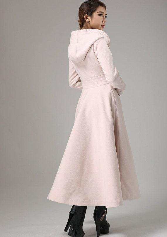 Fit and flare coat pink coat maxi coat long coat winter