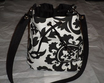Black and White Draw String Grommet Shoulder Bag