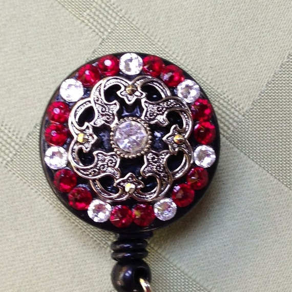 Retractable Badge Holder - Diamond Red Crystal  - Decorated ID Badge Retractable Lanyard Reel