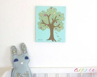 Tree wall art, Art for Children, Handmade Nursery Decor, Canvas 10 x 12 inch