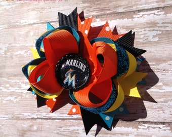 Miami Marlins Hair Bow, MLB Baseball OTT Hair Bow - Perfect for Infants, Toddlers, Big Girls and Teens, Baby headbands, Sports