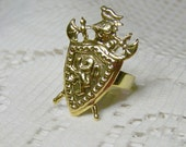 Gold Crest Ring, Lion Rampant Ring Crusades Shield Ring Medieval Knight Scotland Coat of Arms Royal Crest Renaissance Armour Adjustable Ring