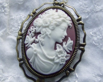 Butterfly Goddess Cameo Necklace -  Chocolate Brown - Neo Victorian - Brooch Pendant