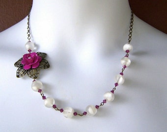 Rose Necklace - Bodacious - Frosted White & magenta, Garden Wedding, Botanical Necklace, Flower Jewelry, Winter Snow White, Winter Wedding