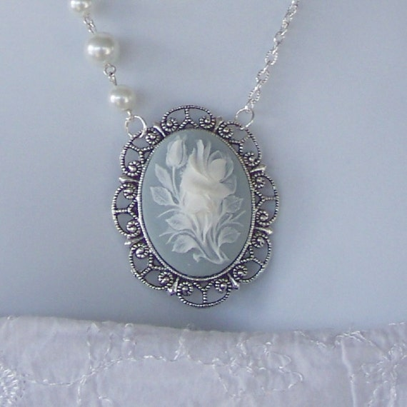 Floral Cameo Necklace - Blue and White ROSE with Pearls - Neo Victorian - Something Blue - Complimentary USA Shipping