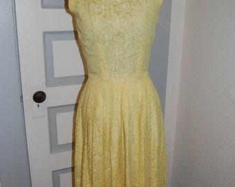 50s Lemon Yellow Lace Overlay Swing Dress S