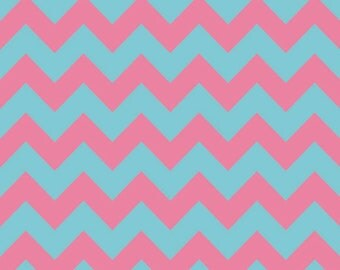 SALE - Riley Blake Medium Chevron in Aqua / Pink - Fat Quarter