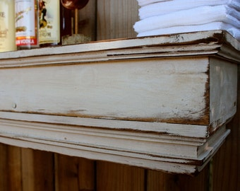 "Wall Ledge - Wood Wall Shelf - Floating Wood Mantel - Home Decor - Wet Bar - Shelf - Ledge - Shabby 60"" Long x 10"" Deep - Ledge"