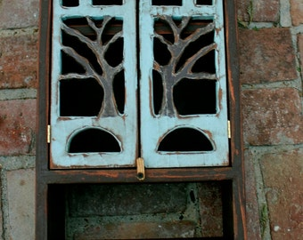 "Wood Wall Cabinet - Oak Tree - Woodland - Shelf with a Towel Bar - 24"" tall x 12"" wide x 5.5"" deep"