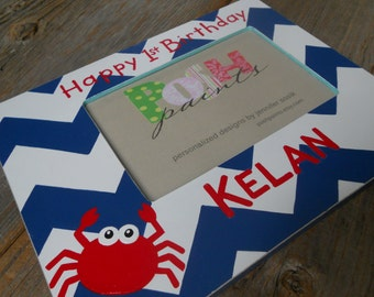NEW navy chevron and crab hand painted picture frame, holds 4x6 photo