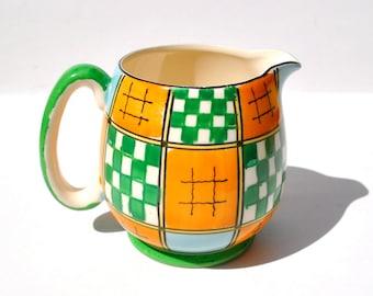 Vintage 1950s pitcher creamer green checks pumpkin orange Royal Trico Nagoya Japan hand painted
