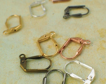 20 Pairs Gold, Silver Plated, Gunmetal or Antique Brass Leverback Ear Wires with Plain Front