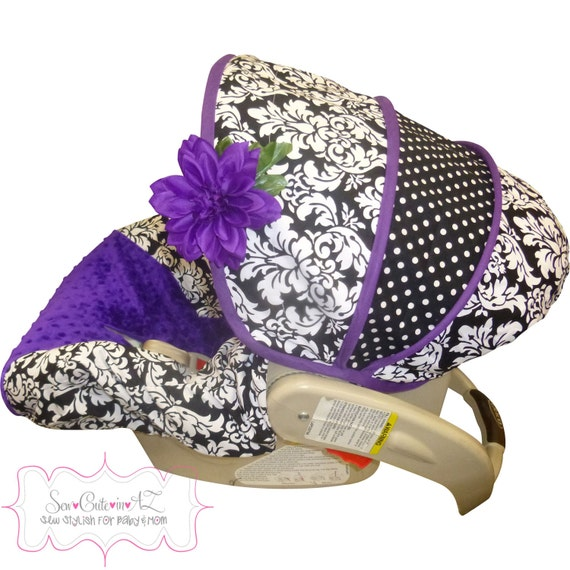 Car Seat Cover Damask With Purple Infant To By Sewcuteinaz