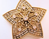 Christmas Signed Lc Louis C Star Rhinestone & Glass Bead Brooch Vintage Jewelry