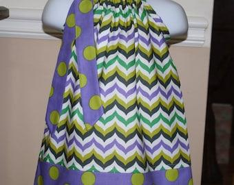 SALE purple chevron Pillowcase dress play time fabric, purple, green, black polka dot toddler girls dress
