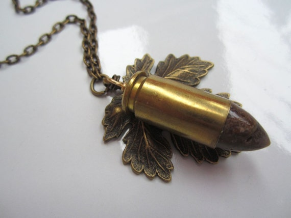 Bronzite & Bullet Leaf Pendant - Antique Brass Metal Pressed Leaf - Natural Stone Point set into Empty Casing