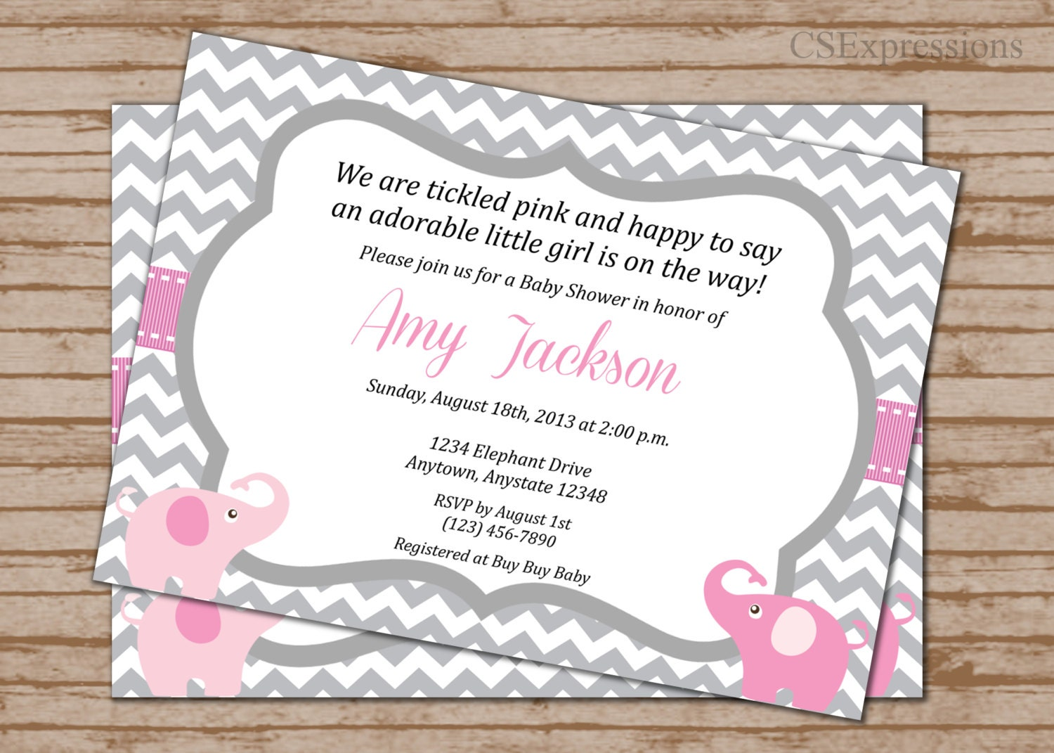 Pink And Gray Elephant Baby Shower Invitation